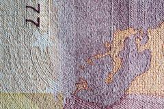 Бумага текстуры, часть бумажных денег Стоковые Изображения