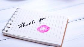 Бумага тетради с линией с надписью спасибо Стоковое Фото
