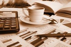 бумага утра кофейной чашки дела душистая Стоковое Изображение RF