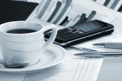 бумага утра кофейной чашки дела душистая Стоковое Изображение