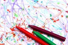 бумага crayons далекая Стоковое Изображение RF