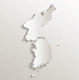 Бумага 3D карточки южного севера карты Кореи отдельная естественная Стоковые Фотографии RF