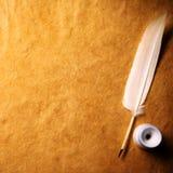 бумага inkwell пера старая Стоковое Фото