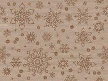 Бумага Kraft текстурировала безшовную картину рождества с кофейным зерном Стоковые Изображения