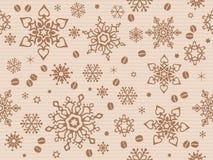 Бумага Kraft текстурировала безшовную картину рождества с кофейным зерном Стоковое Изображение