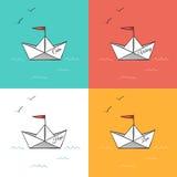 Бумага Origami грузит на иллюстрации вектора волн моря Стоковое Фото