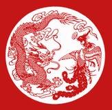 бумага phoenix дракона отрезока фарфора Стоковые Изображения