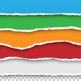 Бумаги вектора безшовные сорванные установили на прозрачную предпосылку Стоковое Фото