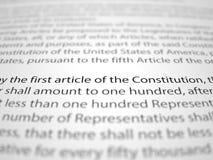 Бумаги Первой поправки к Конституции США с влиянием глубины поля Стоковые Изображения