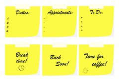 Бумаги примечания офиса - концепция делового сообщества - обязанности перечисляют - период отдыха иллюстрация штока