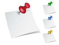 Бумаги примечания с штырями нажима Стоковое Фото