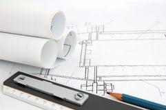 Бумаги проекта конструкции стоковая фотография