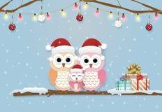 Бумажная иллюстрация искусства милых сычей и рождественской открытки снега иллюстрация вектора