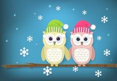 Бумажная иллюстрация искусства пар и снежинки сыча иллюстрация штока