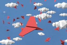 Бумажная иллюстрация предпосылки облаков и самолетов бумаги Стоковое Изображение RF