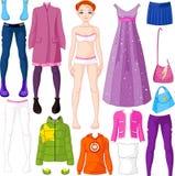 Бумажная кукла с одеждой Стоковая Фотография