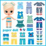 Бумажная кукла при установленные одежды иллюстрация вектора