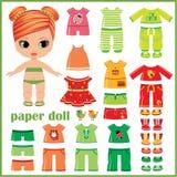Бумажная кукла при установленные одежды Стоковое Изображение
