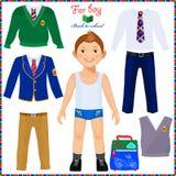 Бумажная кукла с комплектом одежд Милый студент мальчика Стоковая Фотография