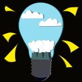 Бумажная отрезанная лампа с атомной электростанцией иллюстрация штока