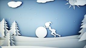 Бумажная плоская анимация Девушка нажимая снеговик Счастливая предпосылка Нового Года и xmas снежности Реалистическая анимация 4K иллюстрация штока