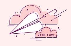 Бумажная плоская муха в розовых облаках С литерностью влюбленности Плоская линия стиль Стоковое Фото