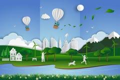 Бумажная предпосылка конспекта искусства с влюбленностью семьи природа в зеленом и мягком голубом цвете, иллюстрации вектора бесплатная иллюстрация