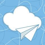 Бумажная предпосылка вектора самолета и облака Стоковая Фотография