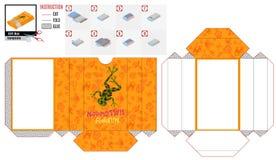 Бумажная складывая коробка с зеленой лягушкой иллюстрация вектора