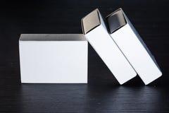 Бумажная спичка кладет шаблон в коробку Contraast картона коробок белый пустой Стоковое Изображение RF