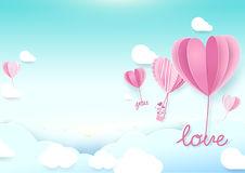 Бумажная форма сердца стиля искусства раздувает летание в небе иллюстрация штока