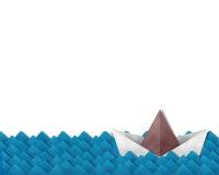 Бумажная шлюпка на море Стоковое фото RF