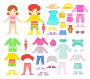 Бумажная smilling кукла с сезонными одеждами и аксессуарами иллюстрация штока