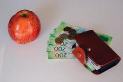 Бумажник Брауна кожаный с пластиковыми картами и банк банкнот России Русские деньги для 200 рублей и монеток Красное яблоко стоковое фото rf