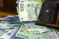 Бумажник вполне 100 злотых Стоковые Изображения RF