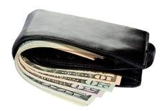 бумажник долларов пачки кожаный Стоковое фото RF