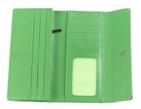 бумажник зеленого цвета открытый Стоковое Изображение