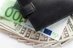 Бумажник и деньги Стоковые Изображения