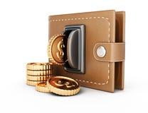 Бумажник и монетки иллюстрация вектора