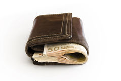 бумажник кожи евро счета Стоковое Фото