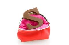 бумажник красного цвета письма шоколада Стоковые Изображения RF