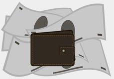 Бумажник на предпосылке денег портмоне также вектор иллюстрации притяжки corel Стоковые Фотографии RF