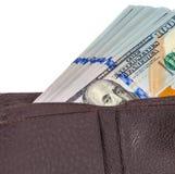 Бумажник открытый при долларовая банкнота вставляя вне Стоковое фото RF