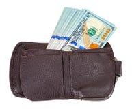 Бумажник открытый при 100 долларовых банкнот вставляя вне Стоковые Изображения
