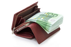 Бумажник с евро Стоковое фото RF