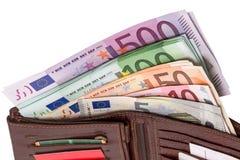 Бумажник с кредитками евро Стоковые Фотографии RF
