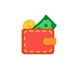 Бумажник с монеткой и долларом Стоковое Изображение
