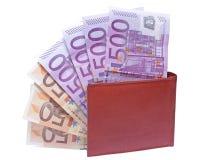 Бумажник с примечаниями евро Стоковые Изображения