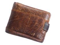 Бумажник людей кожаный коричневый изолированный на белизне Стоковое Изображение