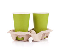 2 бумажного стаканчика с на вынос пить Стоковое Фото